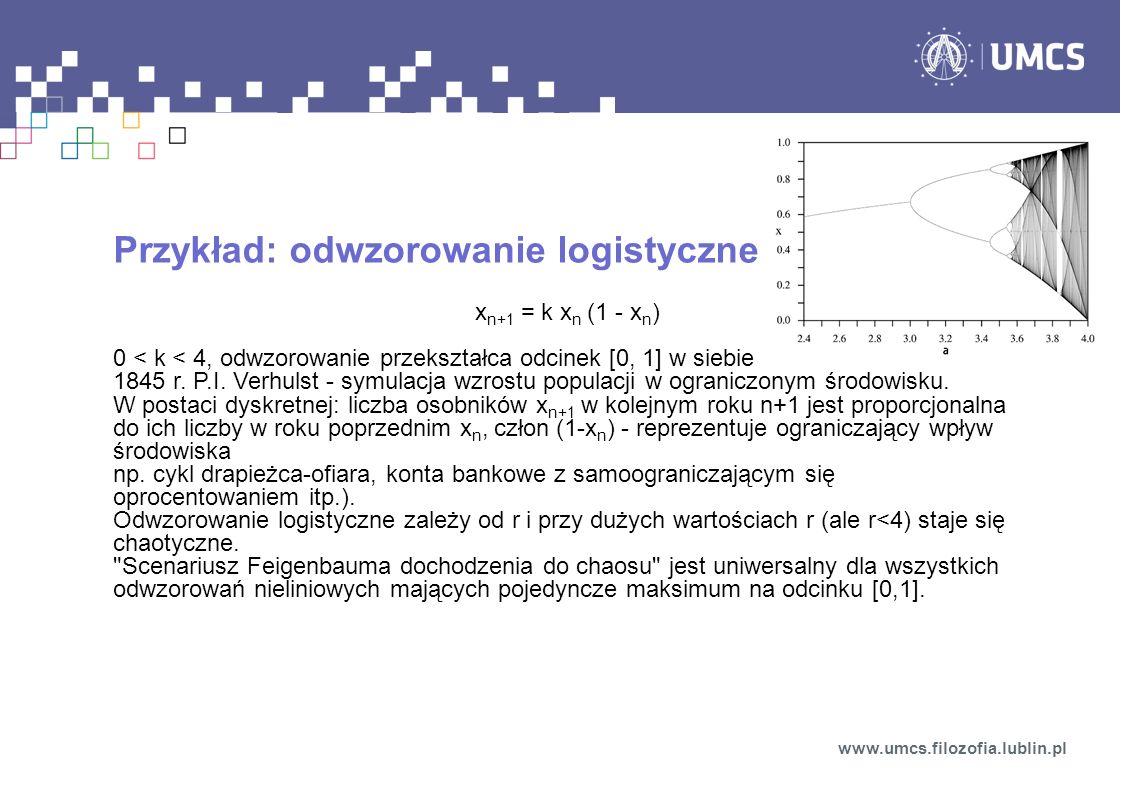 Przykład: odwzorowanie logistyczne x n+1 = k x n (1 - x n ) 0 < k < 4, odwzorowanie przekształca odcinek [0, 1] w siebie 1845 r. P.I. Verhulst - symul