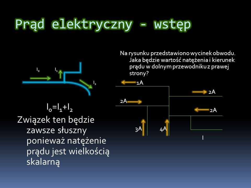 I 0 I 1 I 2 I 0 =I 1 +I 2 Związek ten będzie zawsze słuszny ponieważ natężenie prądu jest wielkością skalarną Na rysunku przedstawiono wycinek obwodu.