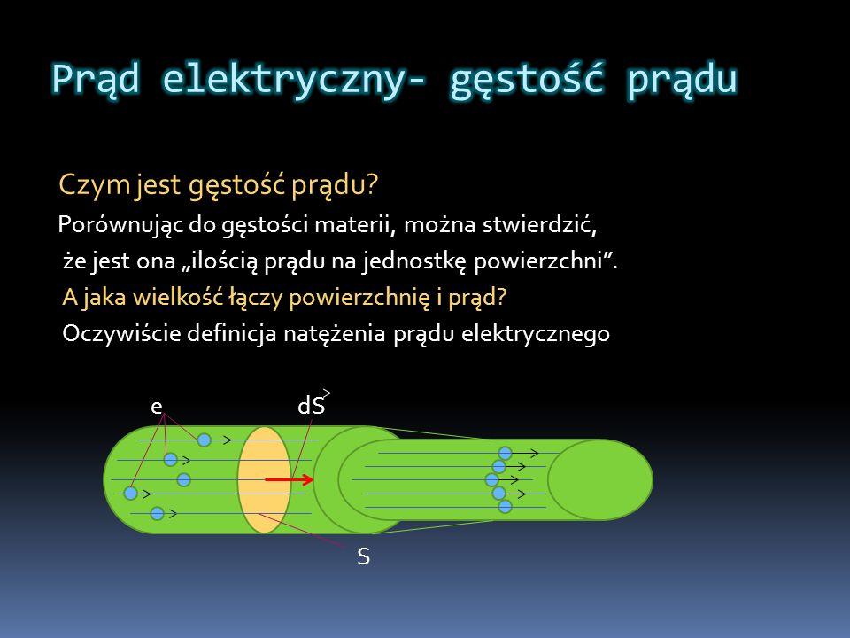 Czym jest gęstość prądu? Porównując do gęstości materii, można stwierdzić, że jest ona ilością prądu na jednostkę powierzchni. A jaka wielkość łączy p