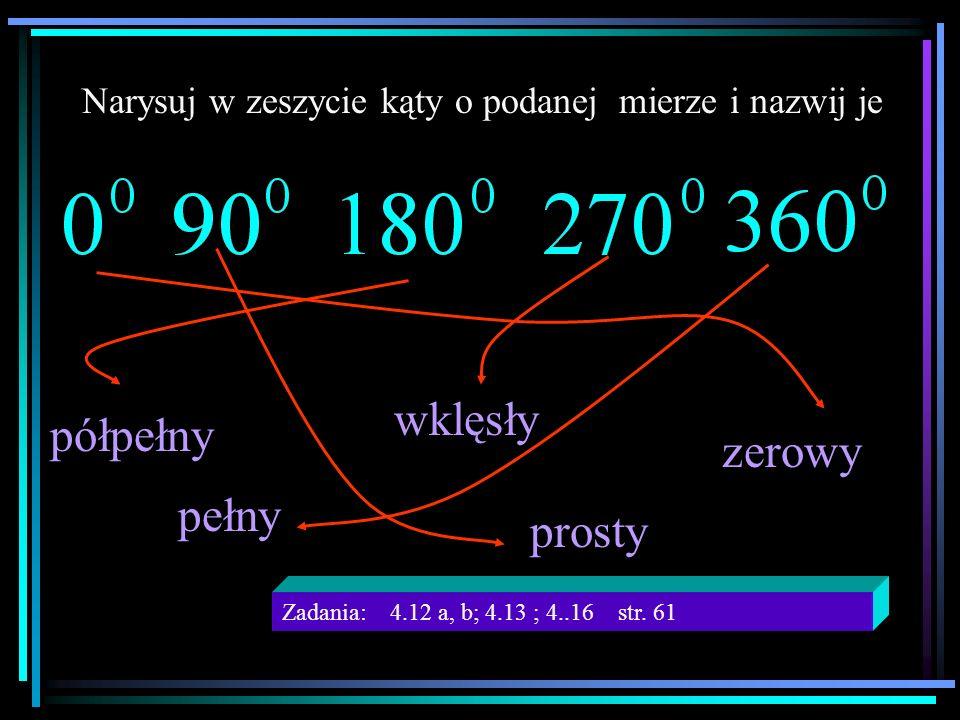 Narysuj w zeszycie kąty o podanej mierze i nazwij je pełny prosty zerowy półpełny wklęsły Zadania: 4.12 a, b; 4.13 ; 4..16 str. 61