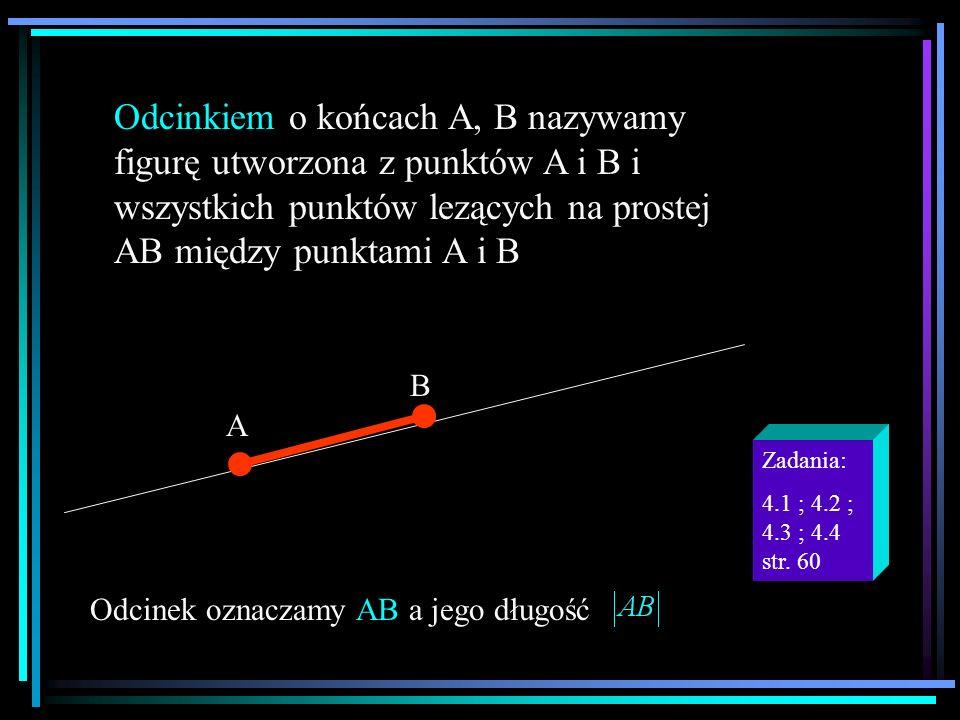 Odcinkiem o końcach A, B nazywamy figurę utworzona z punktów A i B i wszystkich punktów lezących na prostej AB między punktami A i B A B.. Odcinek ozn
