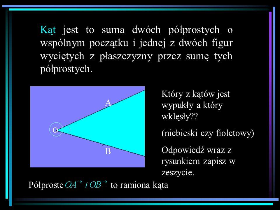 Kąt jest to suma dwóch półprostych o wspólnym początku i jednej z dwóch figur wyciętych z płaszczyzny przez sumę tych półprostych. O A B Półproste to