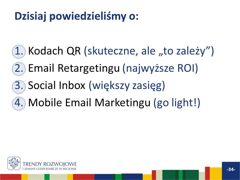 Dzisiaj powiedzieliśmy o: 1.Kodach QR (skuteczne, ale to zależy) 2.Email Retargetingu (najwyższe ROI) 3.Social Inbox (większy zasięg) 4.Mobile Email Marketingu (go light!) -34-