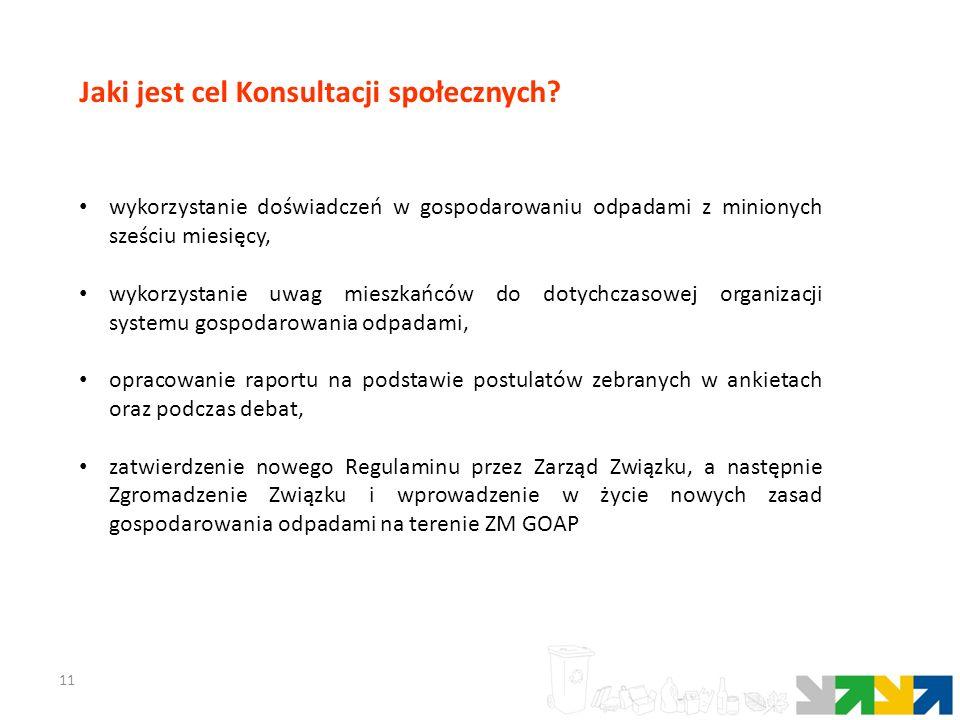 11 Jaki jest cel Konsultacji społecznych? wykorzystanie doświadczeń w gospodarowaniu odpadami z minionych sześciu miesięcy, wykorzystanie uwag mieszka