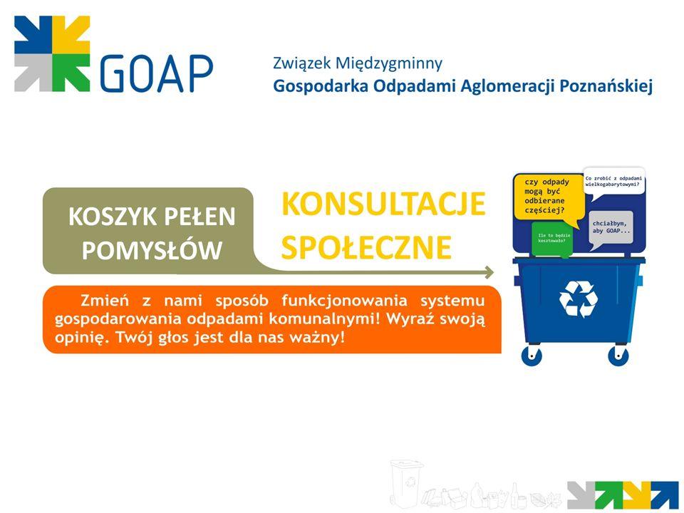 8 Konsultacje społeczne ZM GOAP to kampania mająca na celu przedstawienie proponowanych zmian w zakresie gospodarowania odpadami komunalnymi stronom, których te zmiany będą bezpośrednio lub pośrednio dotyczyć oraz określenie optymalnych zapisów Regulaminu Utrzymania Czystości i Porządku w Gminach po zasięgnięciu opinii wszystkich zainteresowanych.