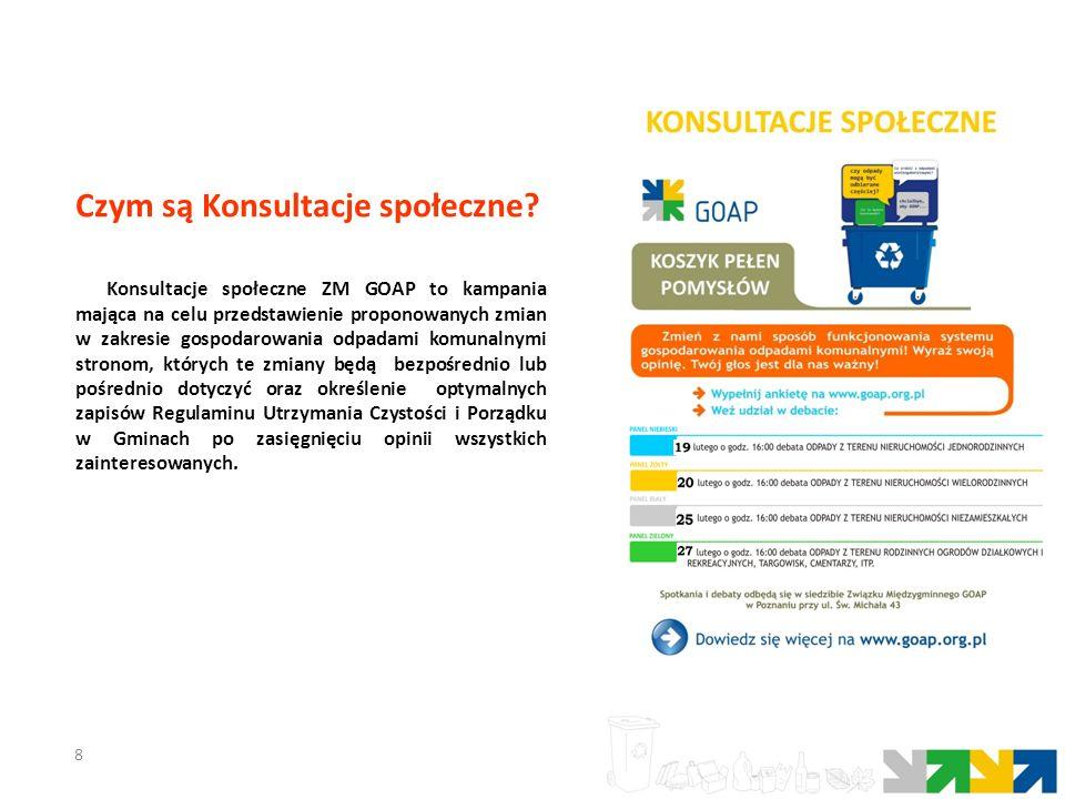 8 Konsultacje społeczne ZM GOAP to kampania mająca na celu przedstawienie proponowanych zmian w zakresie gospodarowania odpadami komunalnymi stronom,