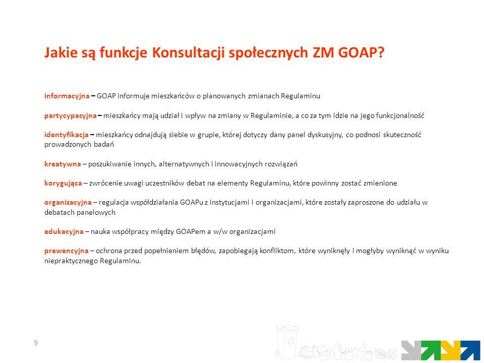 9 informacyjna – GOAP informuje mieszkańców o planowanych zmianach Regulaminu partycypacyjna – mieszkańcy mają udział i wpływ na zmiany w Regulaminie, a co za tym idzie na jego funkcjonalność identyfikacja – mieszkańcy odnajdują siebie w grupie, której dotyczy dany panel dyskusyjny, co podnosi skuteczność prowadzonych badań kreatywna – poszukiwanie innych, alternatywnych i innowacyjnych rozwiązań korygująca – zwrócenie uwagi uczestników debat na elementy Regulaminu, które powinny zostać zmienione organizacyjna – regulacja współdziałania GOAPu z instytucjami i organizacjami, które zostały zaproszone do udziału w debatach panelowych edukacyjna – nauka współpracy między GOAPem a w/w organizacjami prewencyjna – ochrona przed popełnieniem błędów, zapobiegają konfliktom, które wyniknęły i mogłyby wyniknąć w wyniku niepraktycznego Regulaminu.