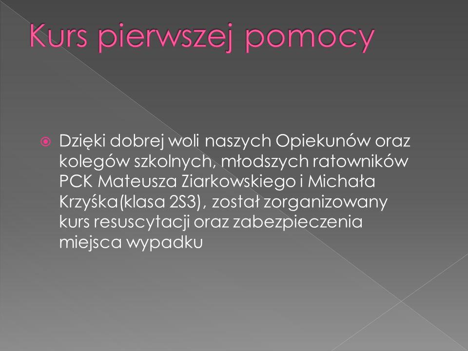 Dzięki dobrej woli naszych Opiekunów oraz kolegów szkolnych, młodszych ratowników PCK Mateusza Ziarkowskiego i Michała Krzyśka(klasa 2S3), został zorganizowany kurs resuscytacji oraz zabezpieczenia miejsca wypadku