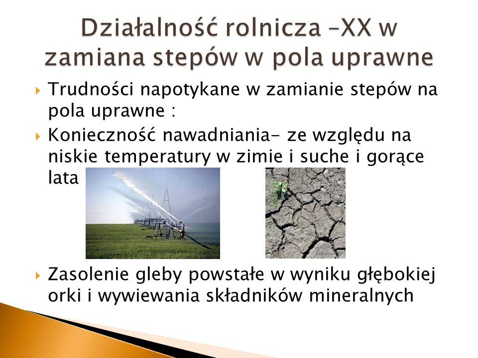 Trudności napotykane w zamianie stepów na pola uprawne : Konieczność nawadniania- ze względu na niskie temperatury w zimie i suche i gorące lata Zasol