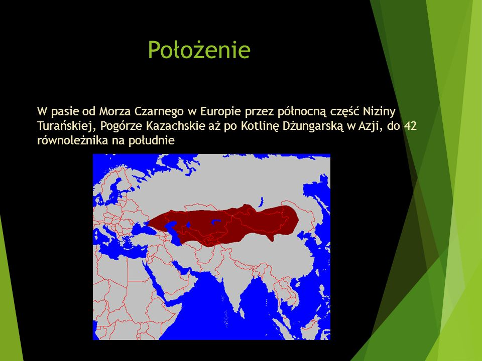 Położenie W pasie od Morza Czarnego w Europie przez północną część Niziny Turańskiej, Pogórze Kazachskie aż po Kotlinę Dżungarską w Azji, do 42 równol