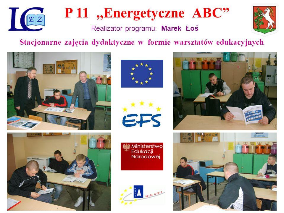 P 11,,Energetyczne ABC Realizator programu: Marek Łoś Stacjonarne zajęcia dydaktyczne w formie warsztatów edukacyjnych