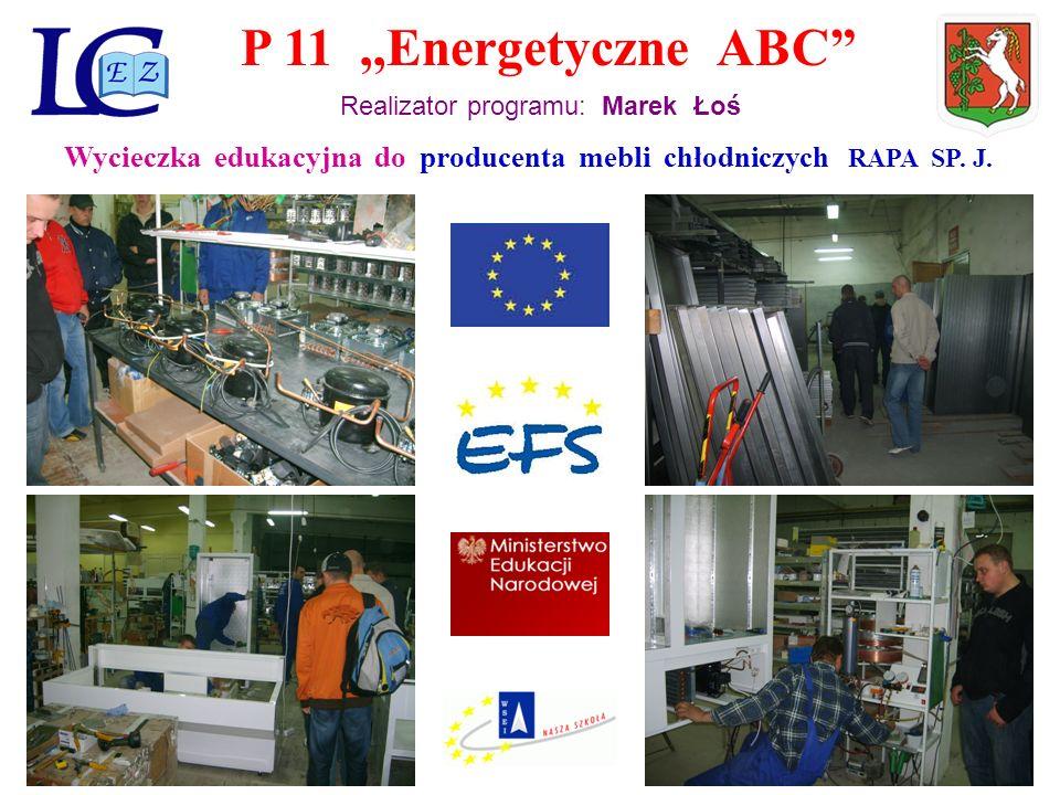 P 11,,Energetyczne ABC Realizator programu: Marek Łoś Wycieczka edukacyjna do producenta mebli chłodniczych RAPA SP.