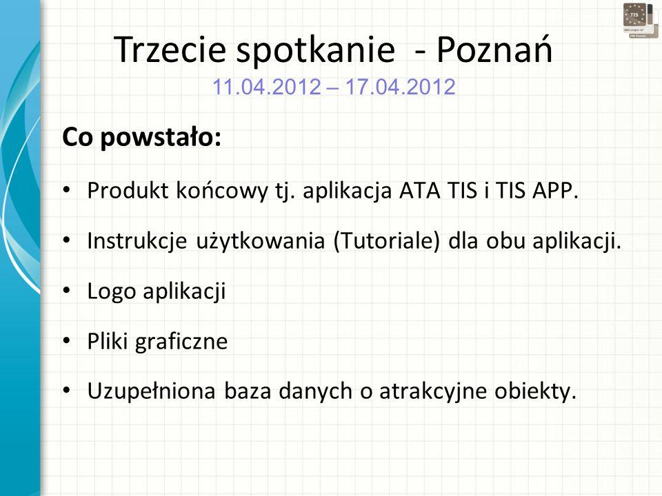 Trzecie spotkanie - Poznań 11.04.2012 – 17.04.2012 Co powstało: Produkt końcowy tj.