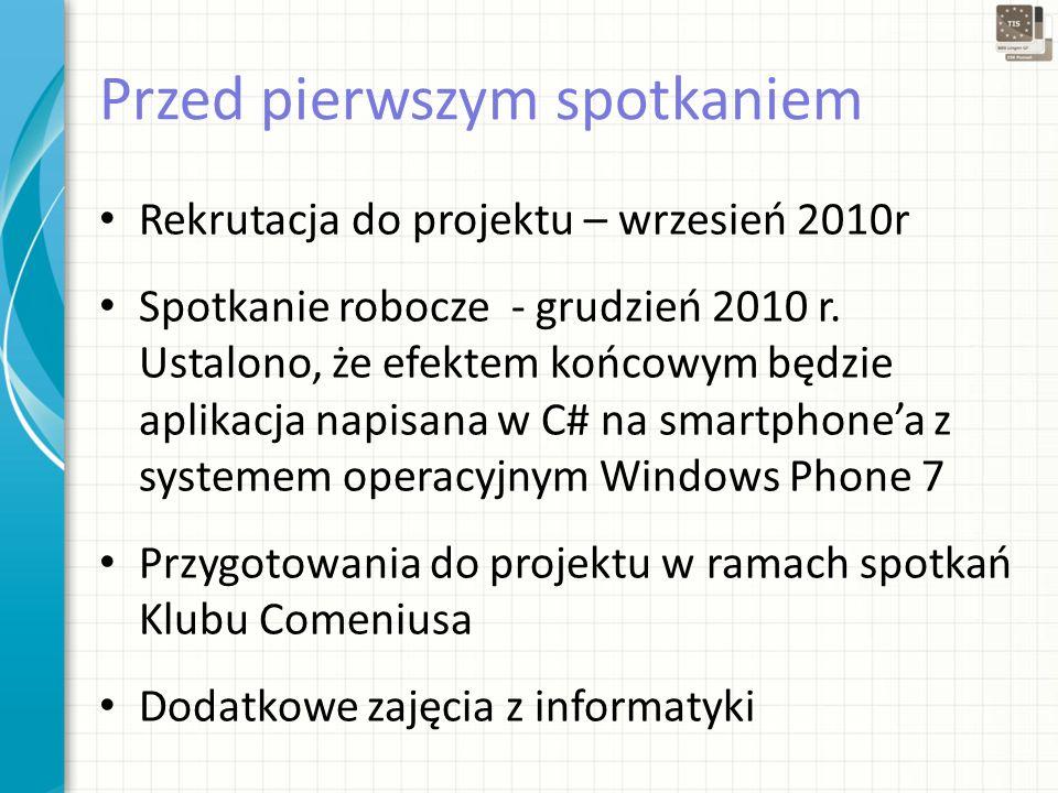 Przed pierwszym spotkaniem Rekrutacja do projektu – wrzesień 2010r Spotkanie robocze - grudzień 2010 r.