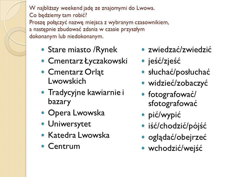 W najbliższy weekend jadę ze znajomymi do Lwowa. Co będziemy tam robić.
