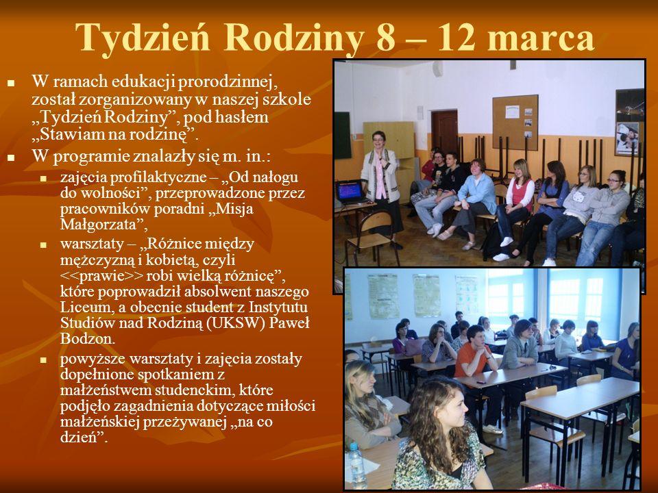 Tydzień Rodziny 8 – 12 marca W ramach edukacji prorodzinnej, został zorganizowany w naszej szkole Tydzień Rodziny, pod hasłem Stawiam na rodzinę. W pr