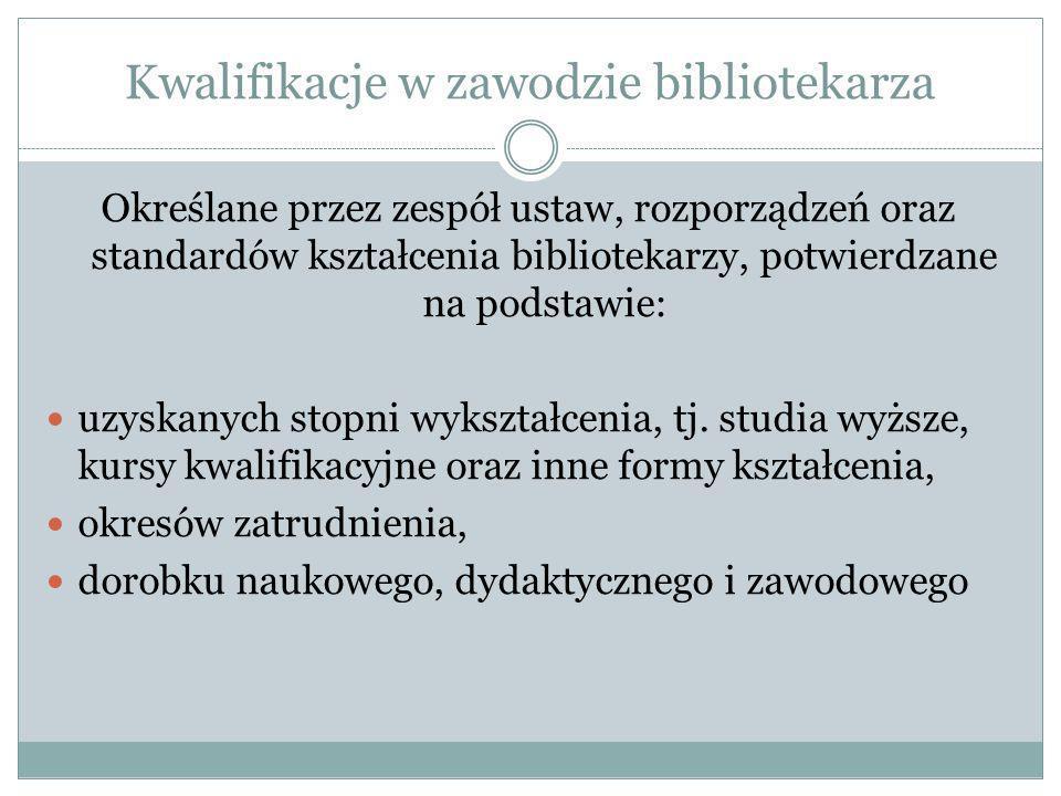5 grup kompetencji bibliotekarskich według M.
