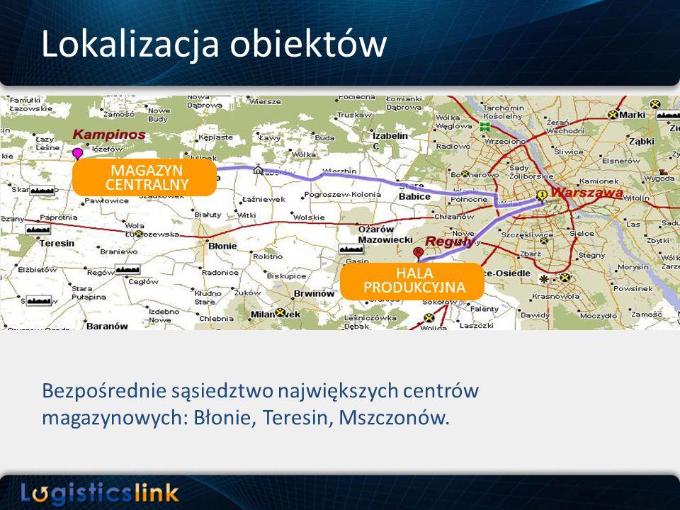 Bezpośrednie sąsiedztwo największych centrów magazynowych: Błonie, Teresin, Mszczonów. Lokalizacja obiektów MAGAZYN CENTRALNY HALA PRODUKCYJNA