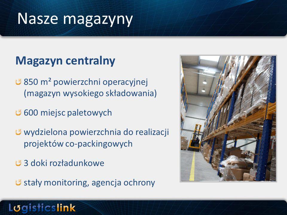 Magazyn centralny 850 m² powierzchni operacyjnej (magazyn wysokiego składowania) 600 miejsc paletowych wydzielona powierzchnia do realizacji projektów