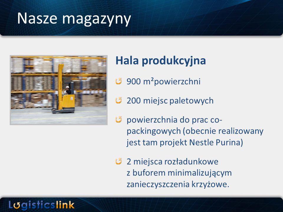 Hala produkcyjna 900 m²powierzchni 200 miejsc paletowych powierzchnia do prac co- packingowych (obecnie realizowany jest tam projekt Nestle Purina) 2