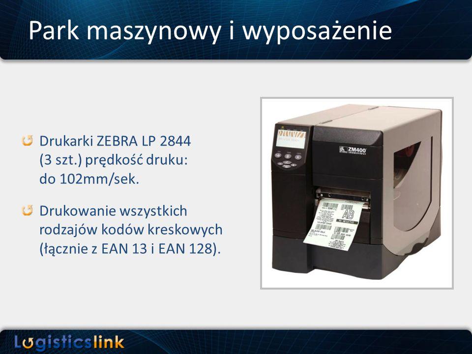 Drukarki ZEBRA LP 2844 (3 szt.) prędkość druku: do 102mm/sek. Drukowanie wszystkich rodzajów kodów kreskowych (łącznie z EAN 13 i EAN 128).