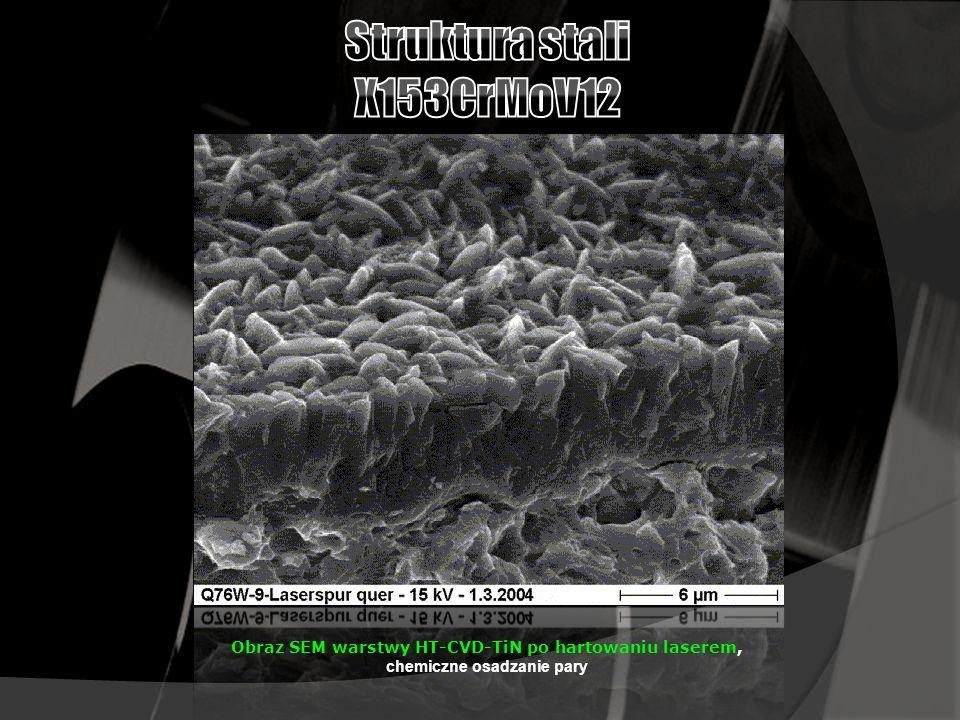 Obraz SEM warstwy HT-CVD-TiN po hartowaniu laserem, chemiczne osadzanie pary