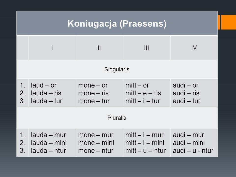 Koniugacja (Praesens) IIIIIIIV Singularis 1. 2. 3. laud – or lauda – ris lauda – tur mone – or mone – ris mone – tur mitt – or mitt – e – ris mitt – i