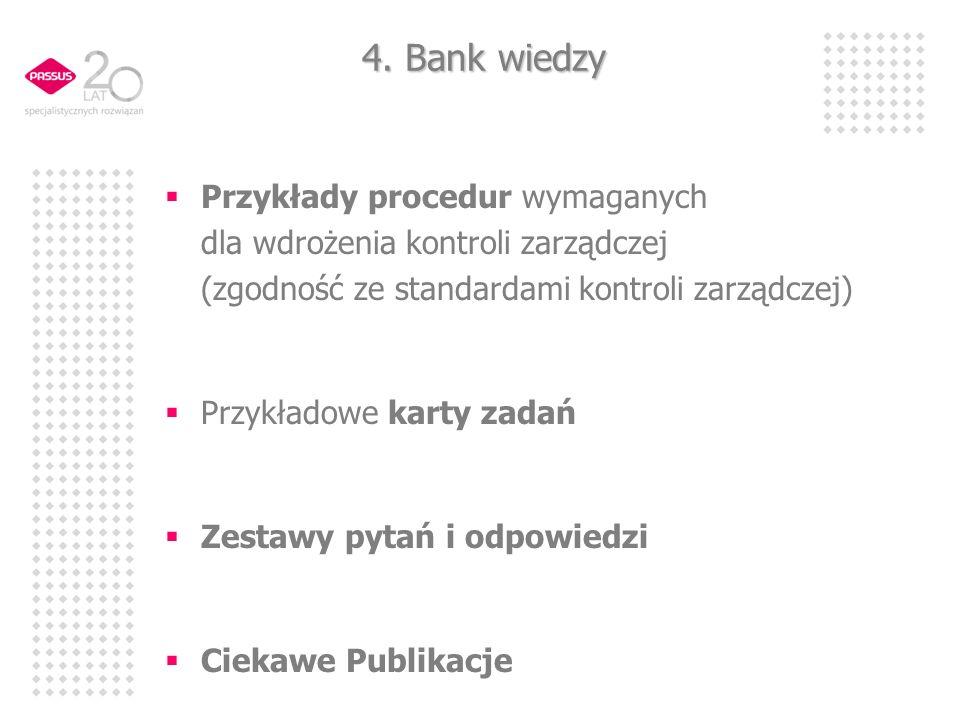 4. Bank wiedzy Przykłady procedur wymaganych dla wdrożenia kontroli zarządczej (zgodność ze standardami kontroli zarządczej) Przykładowe karty zadań Z