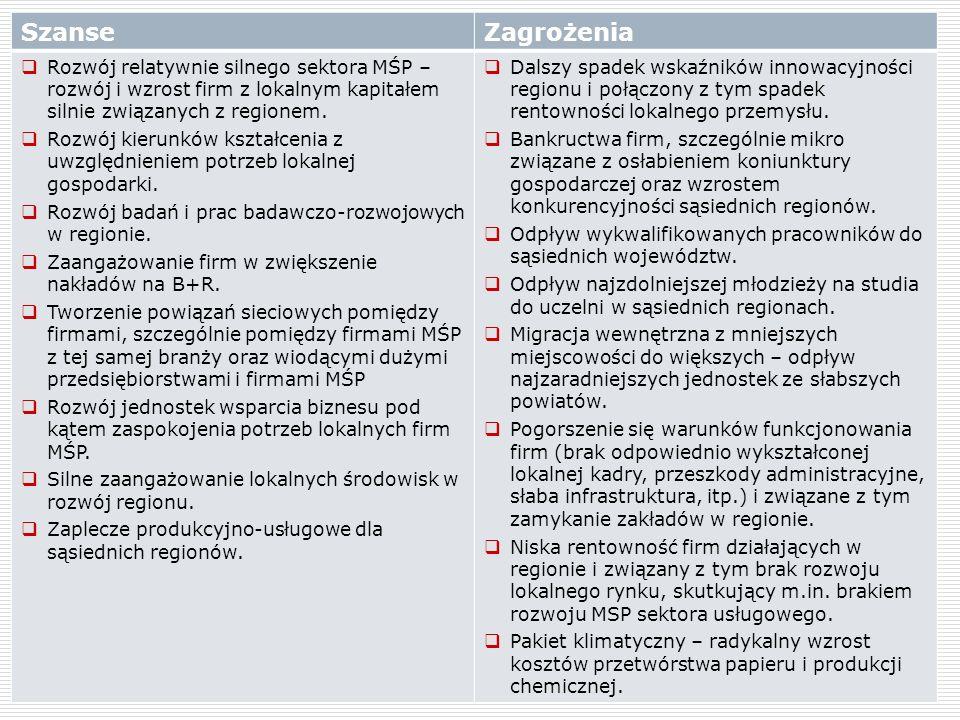 12 SzanseZagrożenia Rozwój relatywnie silnego sektora MŚP – rozwój i wzrost firm z lokalnym kapitałem silnie związanych z regionem. Rozwój kierunków k