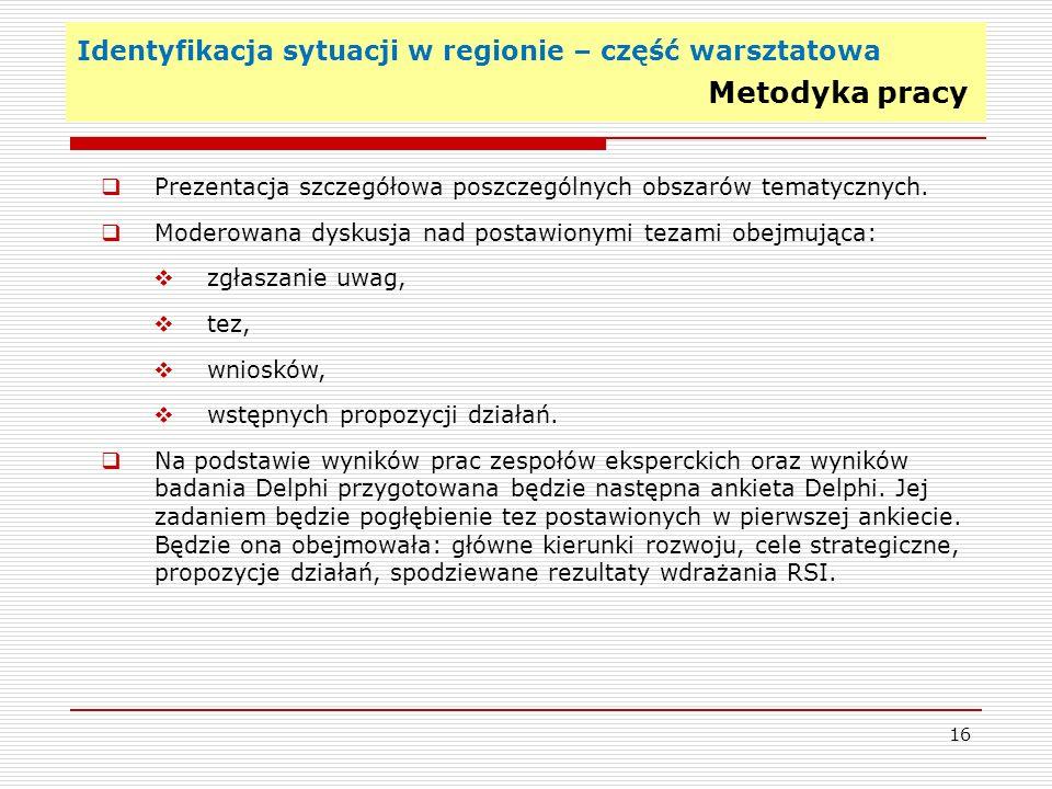 Identyfikacja sytuacji w regionie – część warsztatowa Metodyka pracy 16 Prezentacja szczegółowa poszczególnych obszarów tematycznych. Moderowana dysku