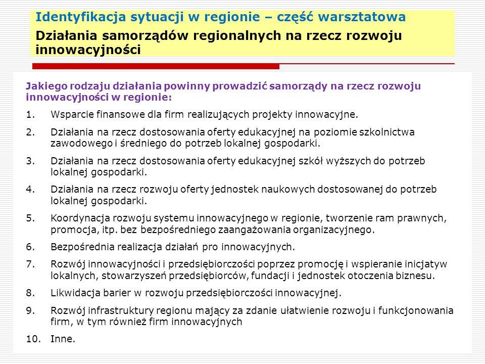 Identyfikacja sytuacji w regionie – część warsztatowa Działania samorządów regionalnych na rzecz rozwoju innowacyjności 22 Jakiego rodzaju działania p