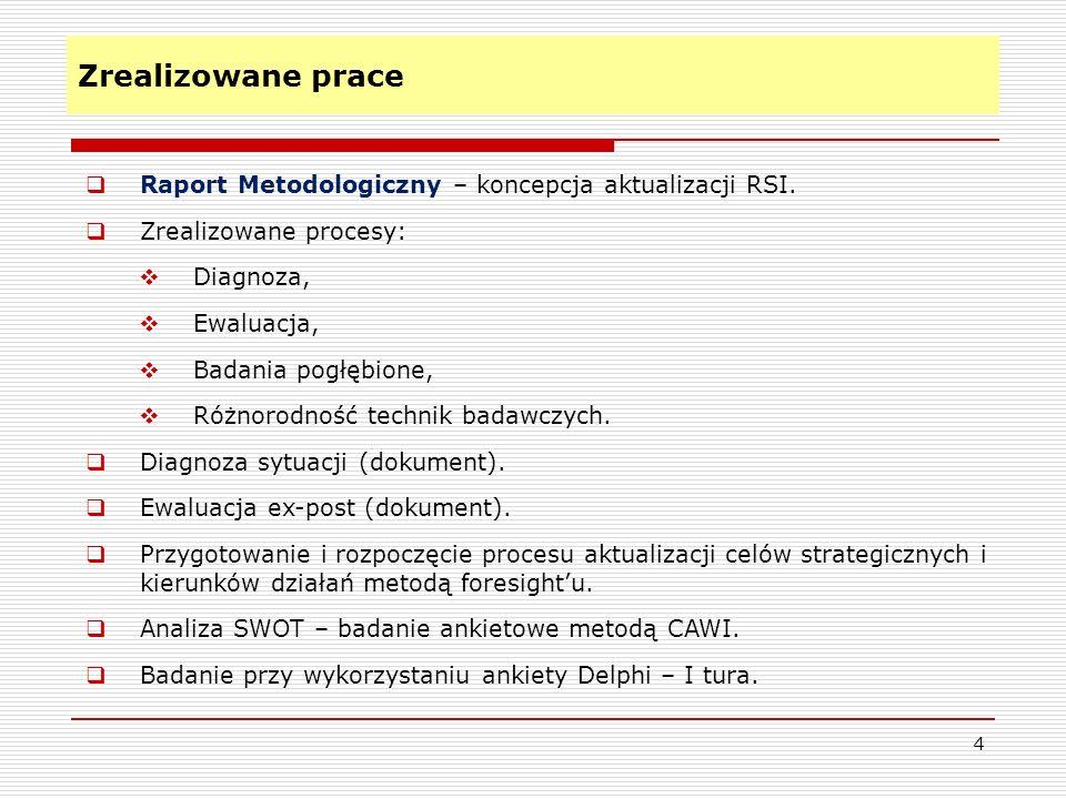 Zrealizowane prace 4 Raport Metodologiczny – koncepcja aktualizacji RSI. Zrealizowane procesy: Diagnoza, Ewaluacja, Badania pogłębione, Różnorodność t