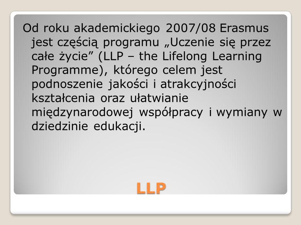 LLP Od roku akademickiego 2007/08 Erasmus jest częścią programu Uczenie się przez całe życie (LLP – the Lifelong Learning Programme), którego celem jest podnoszenie jakości i atrakcyjności kształcenia oraz ułatwianie międzynarodowej współpracy i wymiany w dziedzinie edukacji.