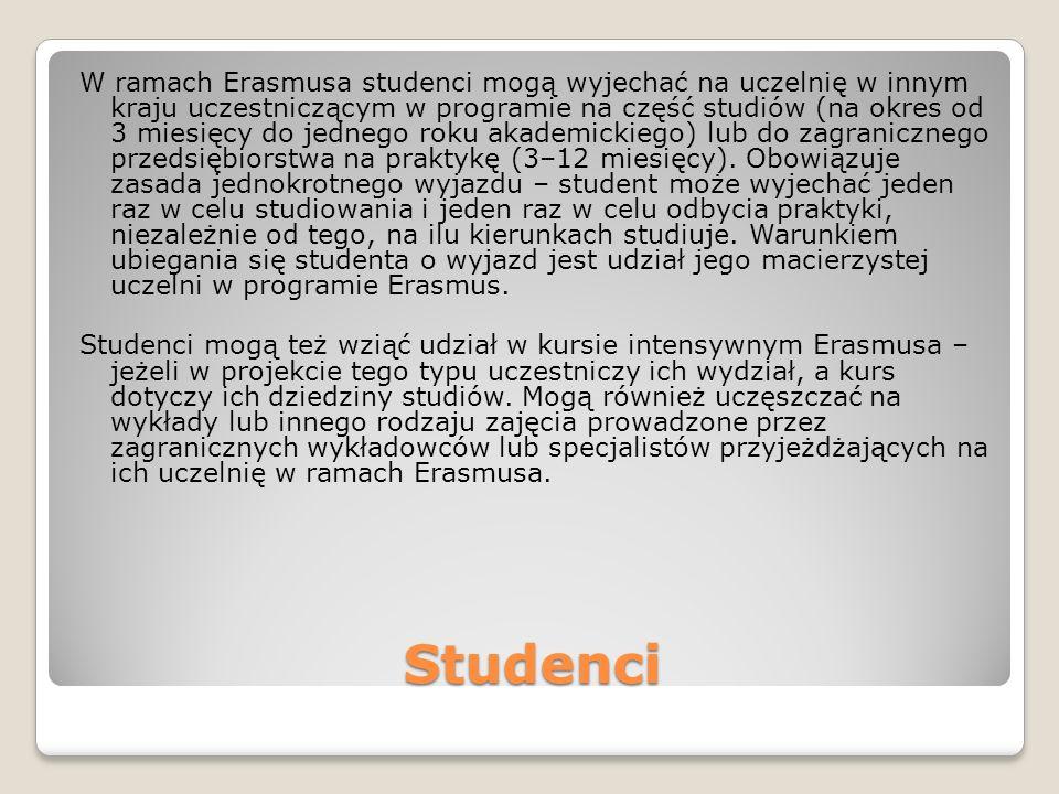 Studenci W ramach Erasmusa studenci mogą wyjechać na uczelnię w innym kraju uczestniczącym w programie na część studiów (na okres od 3 miesięcy do jednego roku akademickiego) lub do zagranicznego przedsiębiorstwa na praktykę (3–12 miesięcy).