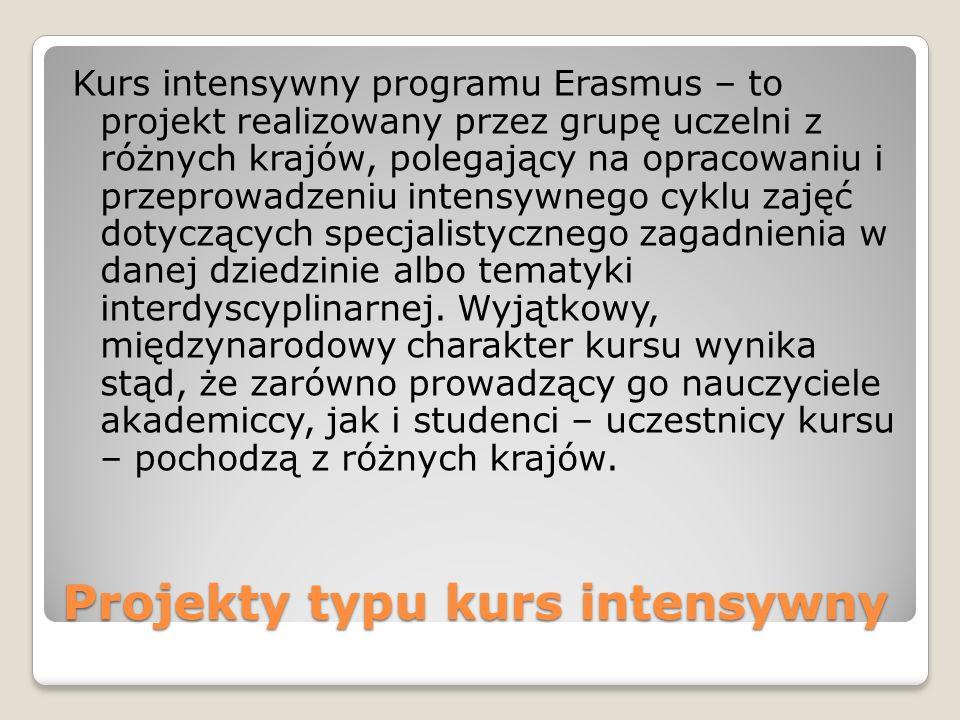 Projekty typu kurs intensywny Kurs intensywny programu Erasmus – to projekt realizowany przez grupę uczelni z różnych krajów, polegający na opracowaniu i przeprowadzeniu intensywnego cyklu zajęć dotyczących specjalistycznego zagadnienia w danej dziedzinie albo tematyki interdyscyplinarnej.