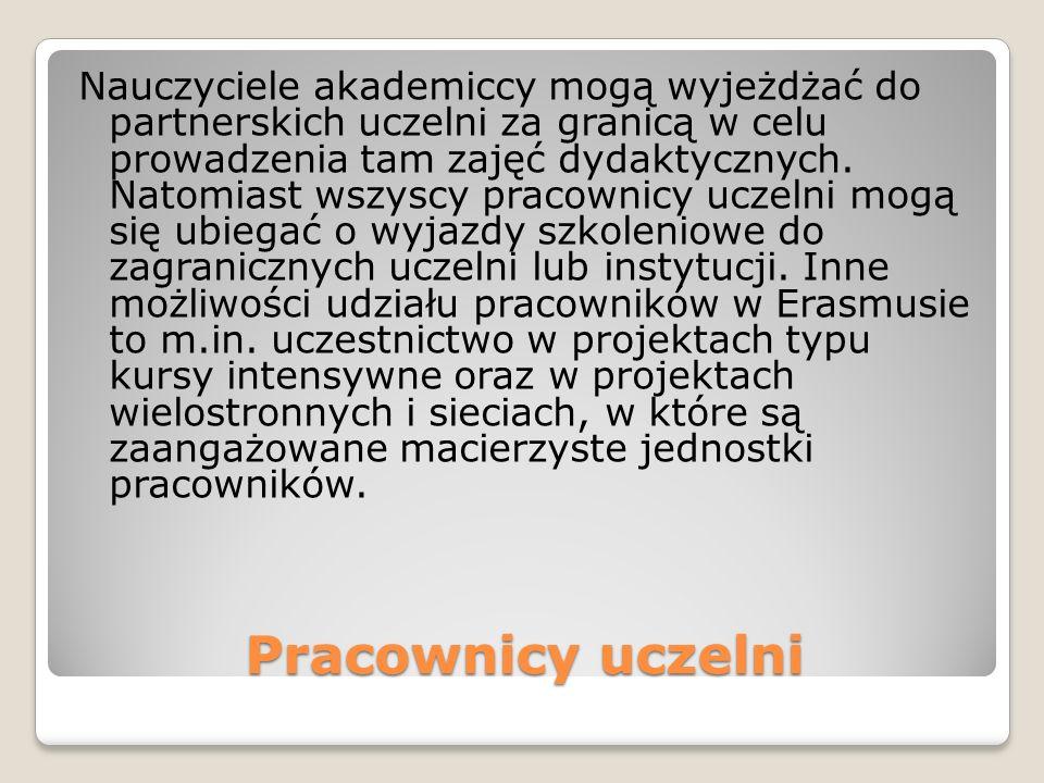 Pracownicy uczelni Nauczyciele akademiccy mogą wyjeżdżać do partnerskich uczelni za granicą w celu prowadzenia tam zajęć dydaktycznych.
