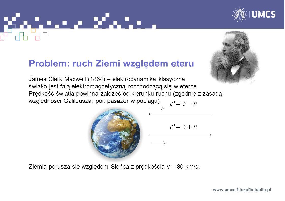 Problem: ruch Ziemi względem eteru James Clerk Maxwell (1864) – elektrodynamika klasyczna światło jest falą elektromagnetyczną rozchodzącą się w eterze Prędkość światła powinna zależeć od kierunku ruchu (zgodnie z zasadą względności Galileusza; por.