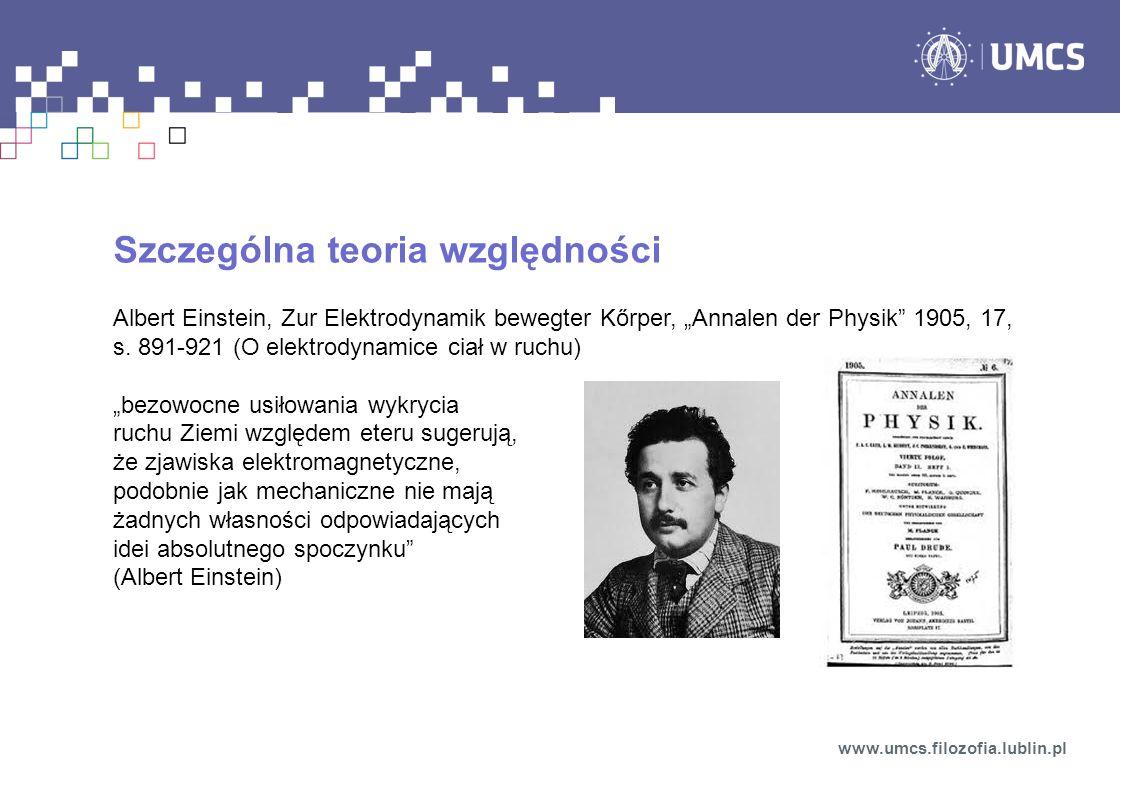 Szczególna teoria względności Albert Einstein, Zur Elektrodynamik bewegter Kőrper, Annalen der Physik 1905, 17, s. 891-921 (O elektrodynamice ciał w r