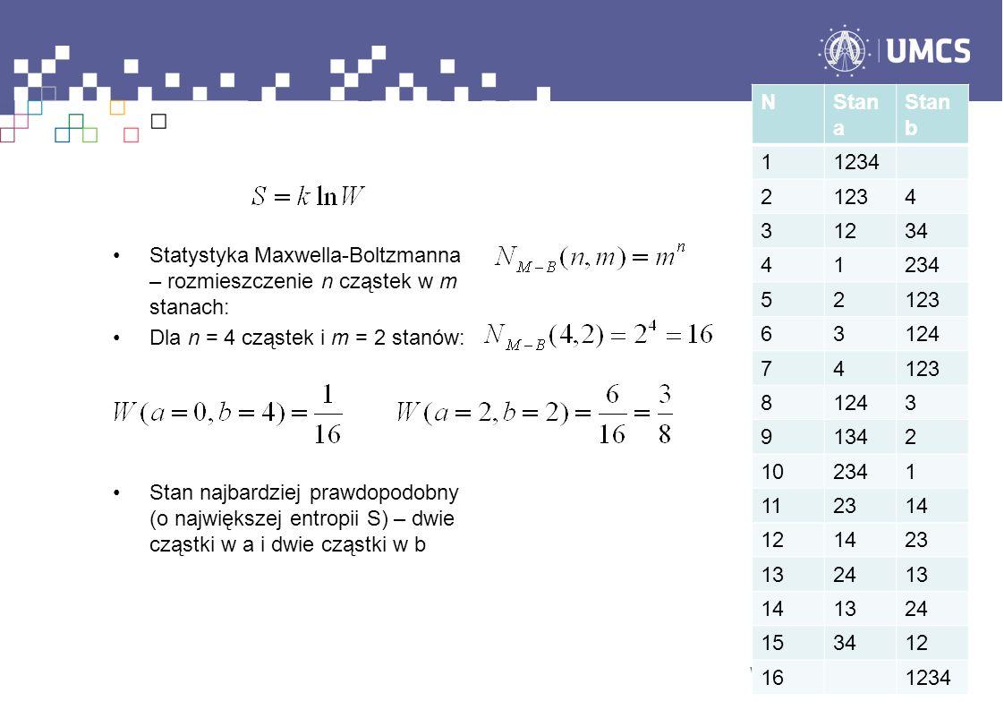 Statystyka Maxwella-Boltzmanna – rozmieszczenie n cząstek w m stanach: Dla n = 4 cząstek i m = 2 stanów: Stan najbardziej prawdopodobny (o największej entropii S) – dwie cząstki w a i dwie cząstki w b NStan a Stan b 11234 21234 31234 41234 52123 63124 74123 81243 91342 102341 112314 121423 132413 141324 153412 161234