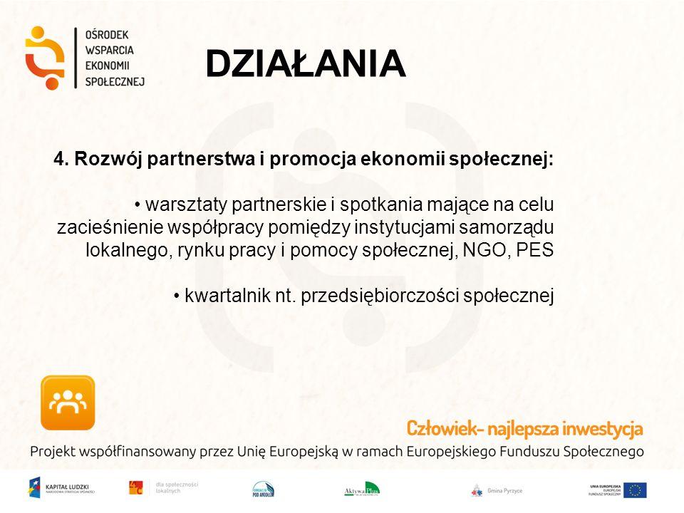 4. Rozwój partnerstwa i promocja ekonomii społecznej: warsztaty partnerskie i spotkania mające na celu zacieśnienie współpracy pomiędzy instytucjami s
