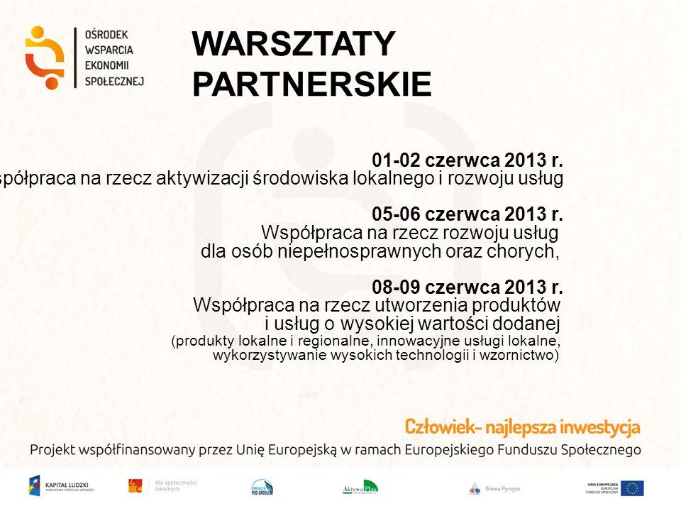 WARSZTATY PARTNERSKIE 01-02 czerwca 2013 r. Współpraca na rzecz aktywizacji środowiska lokalnego i rozwoju usług 05-06 czerwca 2013 r. Współpraca na r