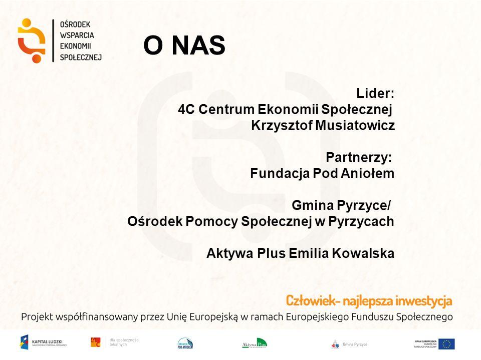 O NAS Lider: 4C Centrum Ekonomii Społecznej Krzysztof Musiatowicz Partnerzy: Fundacja Pod Aniołem Gmina Pyrzyce/ Ośrodek Pomocy Społecznej w Pyrzycach