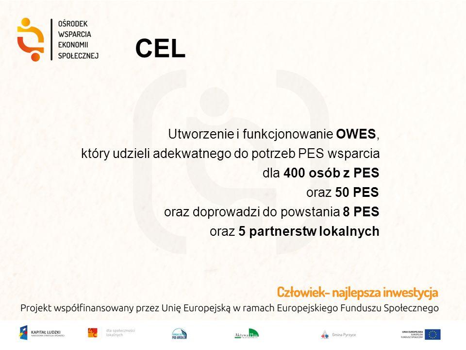 CEL Utworzenie i funkcjonowanie OWES, który udzieli adekwatnego do potrzeb PES wsparcia dla 400 osób z PES oraz 50 PES oraz doprowadzi do powstania 8 PES oraz 5 partnerstw lokalnych