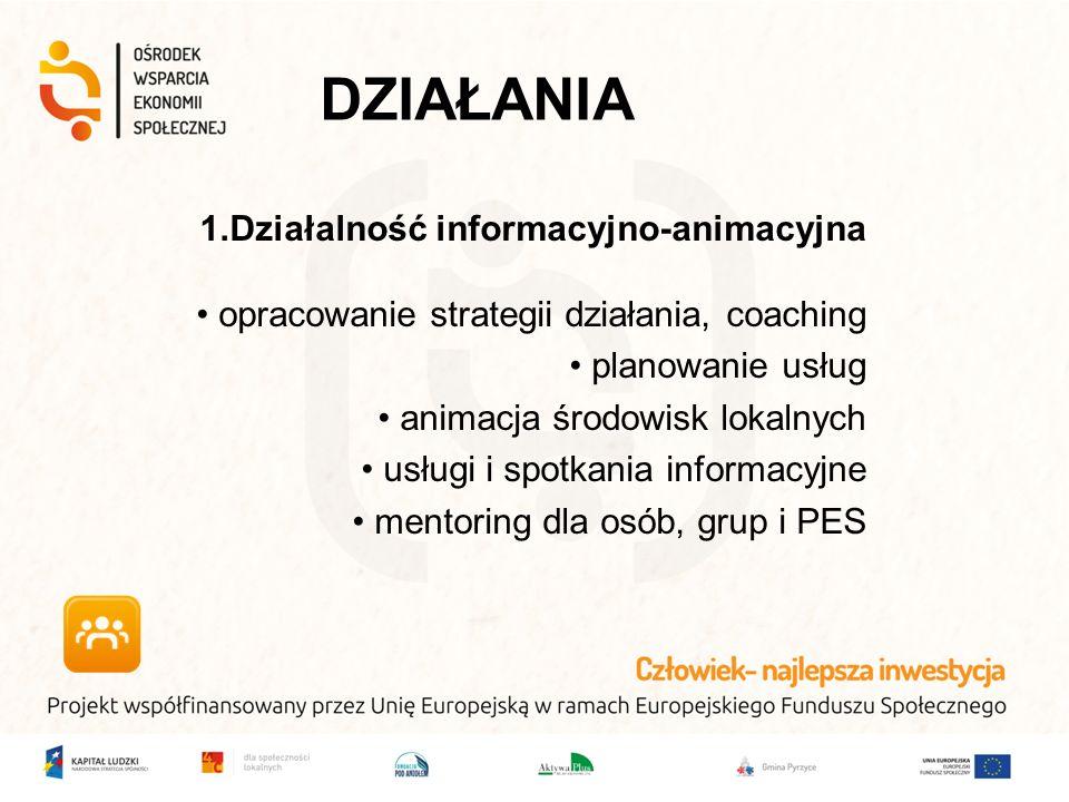 DZIAŁANIA 1.Działalność informacyjno-animacyjna opracowanie strategii działania, coaching planowanie usług animacja środowisk lokalnych usługi i spotkania informacyjne mentoring dla osób, grup i PES