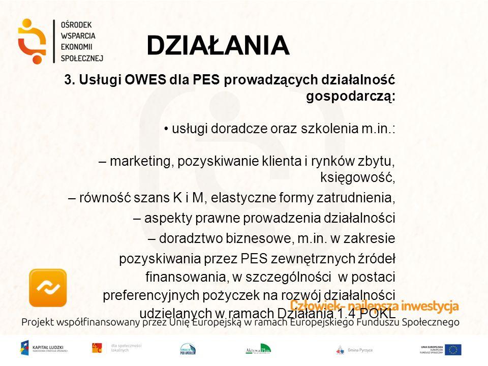 3. Usługi OWES dla PES prowadzących działalność gospodarczą: usługi doradcze oraz szkolenia m.in.: – marketing, pozyskiwanie klienta i rynków zbytu, k