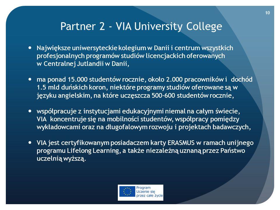 Partner 2 - VIA University College Największe uniwersyteckie kolegium w Danii i centrum wszystkich profesjonalnych programów studiów licencjackich ofe