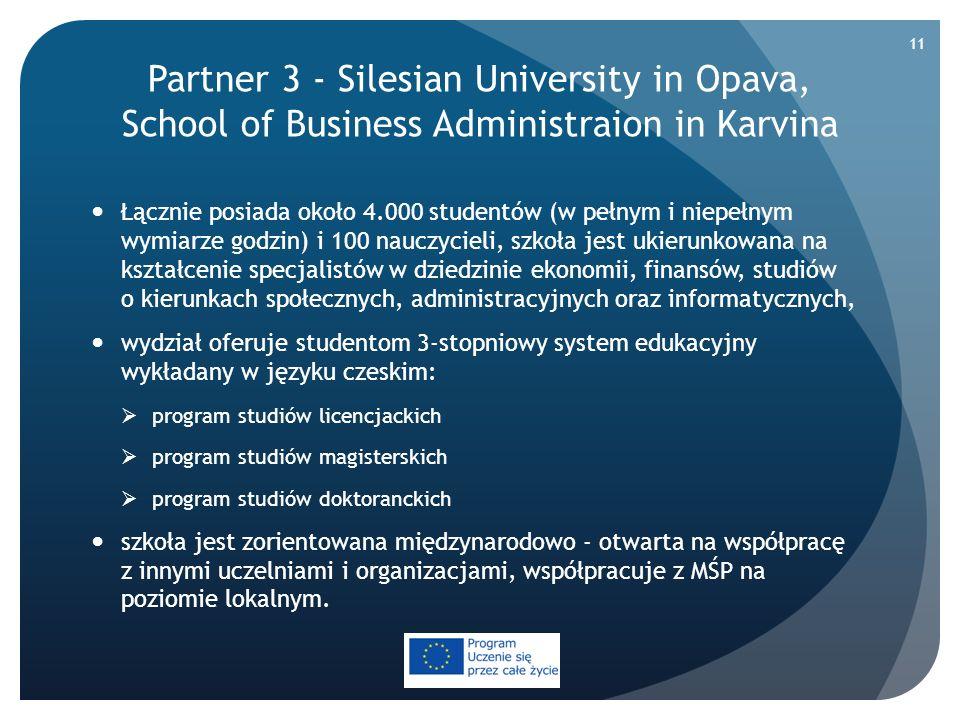 Partner 3 - Silesian University in Opava, School of Business Administraion in Karvina Łącznie posiada około 4.000 studentów (w pełnym i niepełnym wymi
