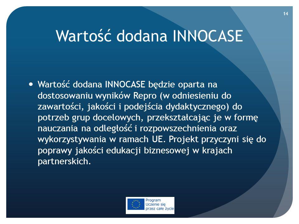 Wartość dodana INNOCASE Wartość dodana INNOCASE będzie oparta na dostosowaniu wyników Repro (w odniesieniu do zawartości, jakości i podejścia dydaktyc
