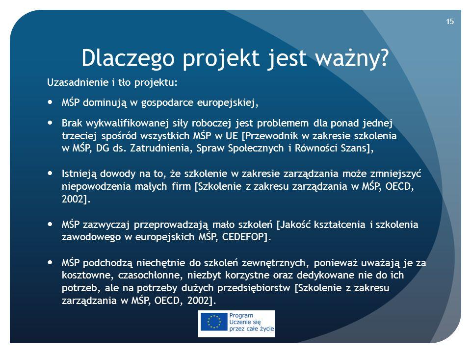 Dlaczego projekt jest ważny? Uzasadnienie i tło projektu: MŚP dominują w gospodarce europejskiej, Brak wykwalifikowanej siły roboczej jest problemem d