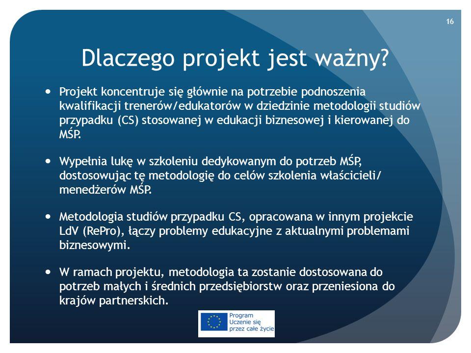 Dlaczego projekt jest ważny? Projekt koncentruje się głównie na potrzebie podnoszenia kwalifikacji trenerów/edukatorów w dziedzinie metodologii studió